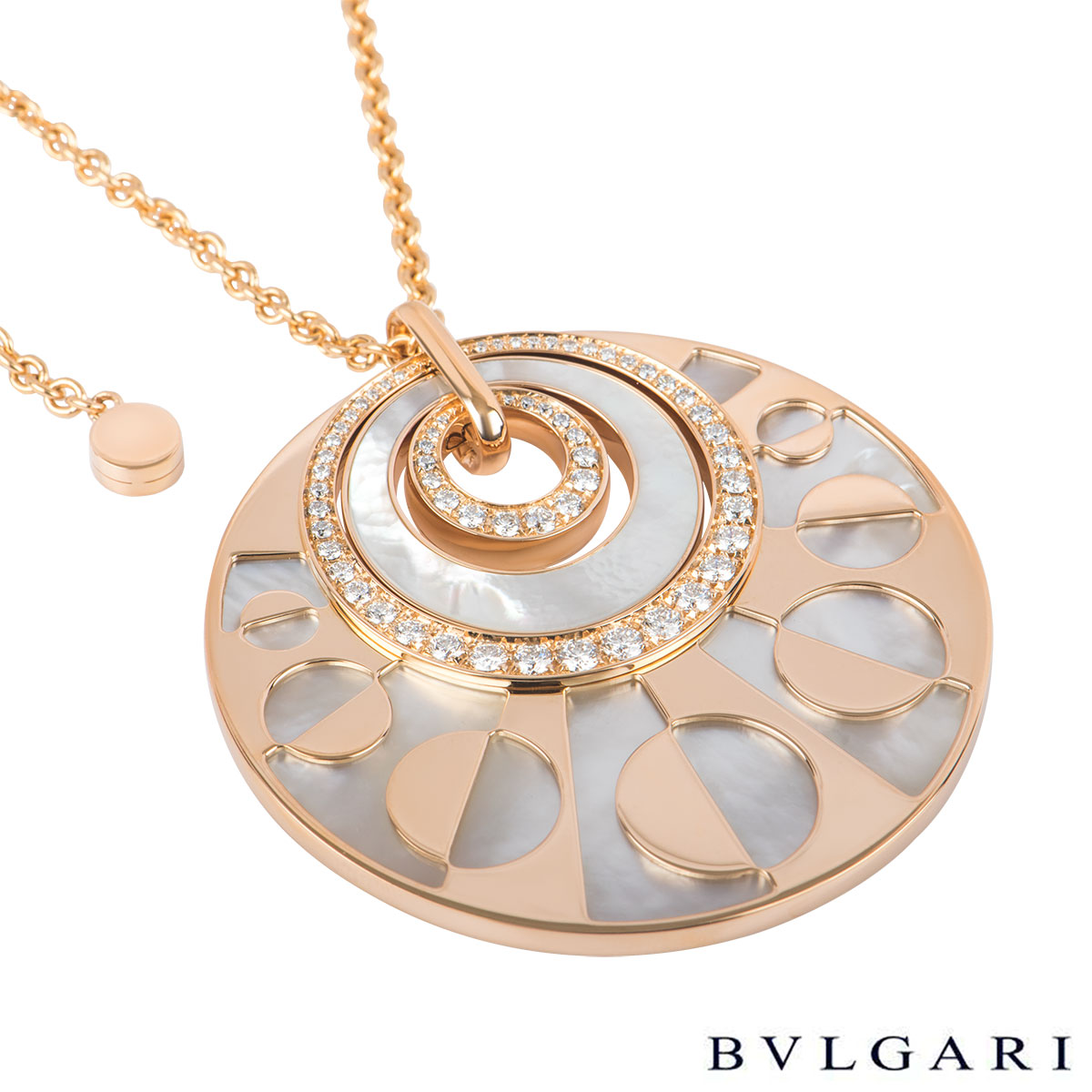 Bvlgari Rose Gold Intarsio Necklace 346299 CL855753